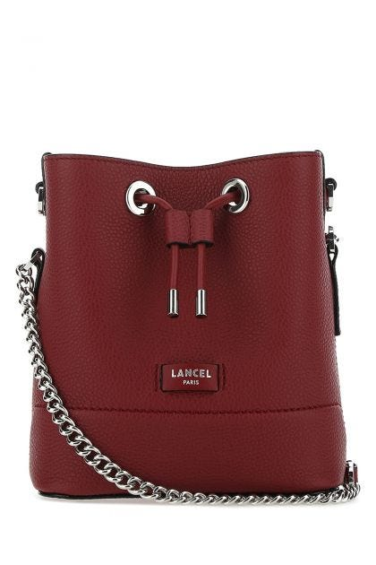 Burgundy leather mini Seat bucket bag