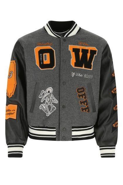 Embellished wool blend and leather bomber jacket