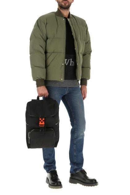 Black cotton blend backpack