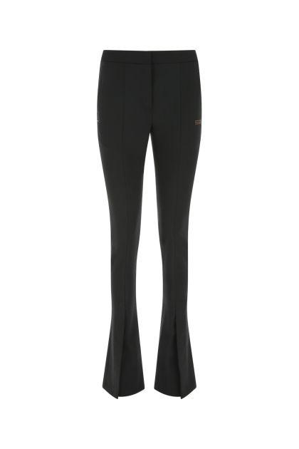 Black stretch polyester blend pant