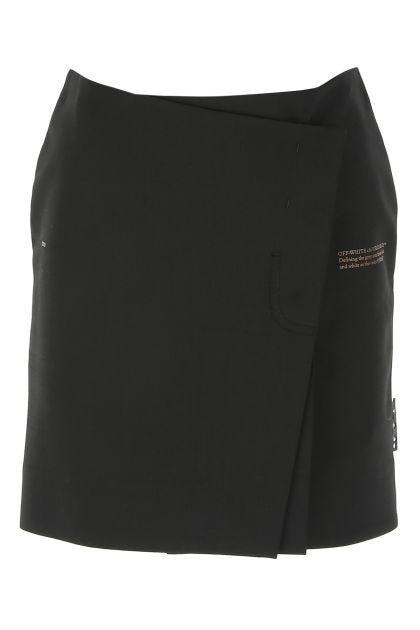 Black polyester blend mini skirt