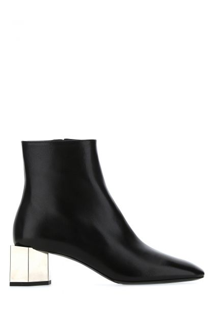 Black leather Hexnut ankle boots
