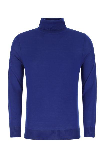 Electric blue Merino wool top