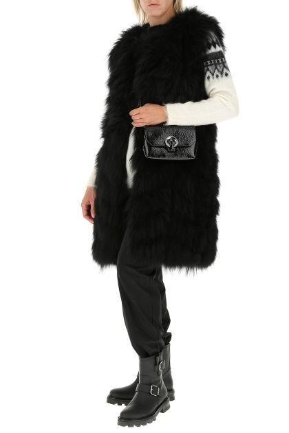 Black leather Soft Madeline clutch