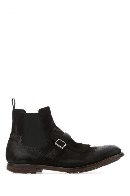 Dark brown suede Shangai 06 ankle boots