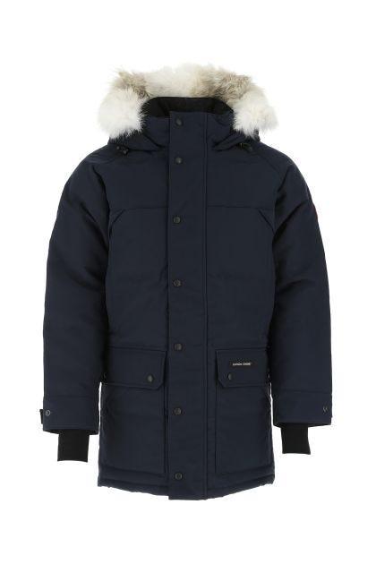 Dark blue polyester blend Emory down jacket