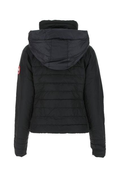 Black nylon and stretch polyester Hybridge Base down jacket