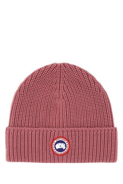 Antiqued pink wool beanie hat