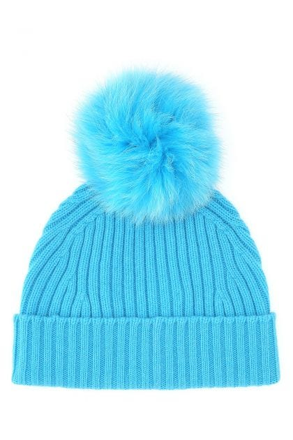 Light blue wool and cashmere beanie hat