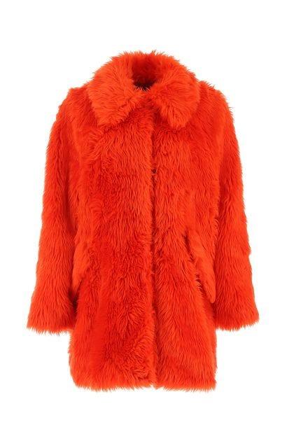 Orange eco fur coat