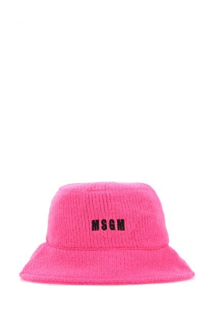 Fluorescent pink acrylic blend bucket hat