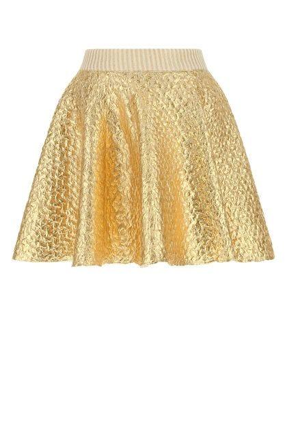 Gold wool blend mini skirt