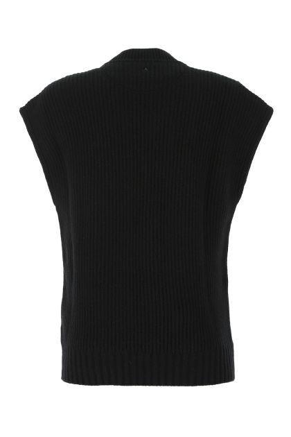 Black stretch wool blend sweater