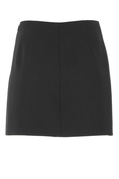 Black gabardine mini skirt