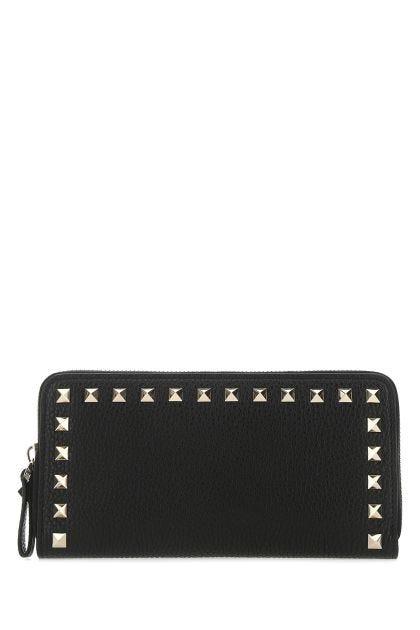 Black leather Rockstud wallet