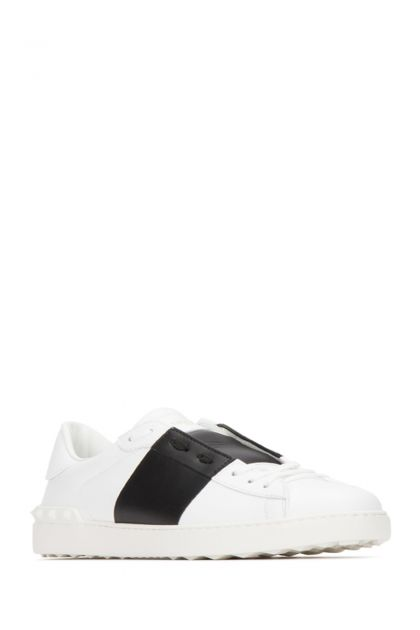 White leather Open sneakers with black band