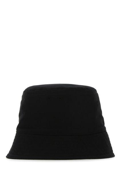 Black gabardine bucket hat