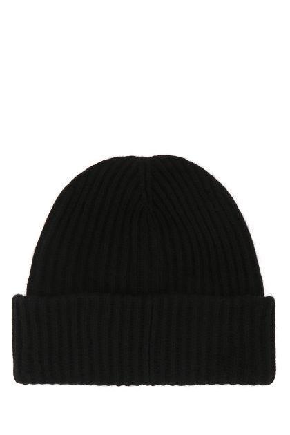 Black wool blend beanie hat