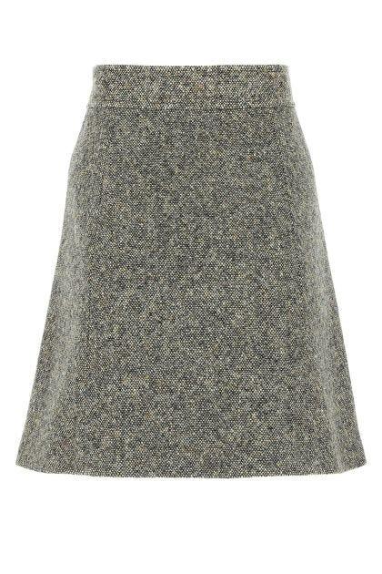 Multicolor wool blend mini skirt