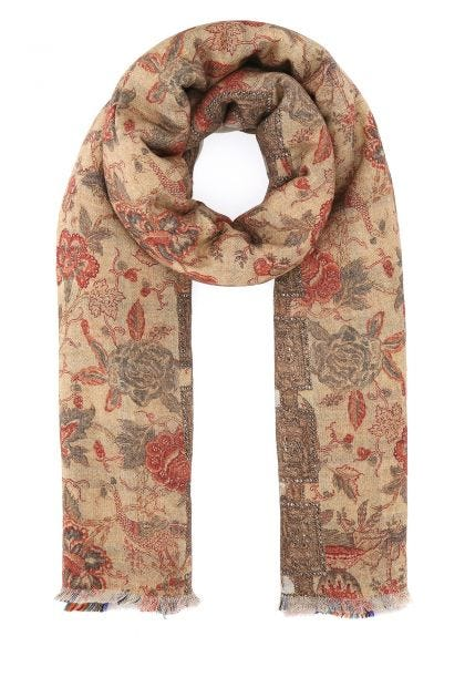 Embroidered wool reversible scarf