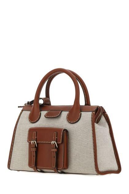 Two-tone leather and fabric medium Edith handbag