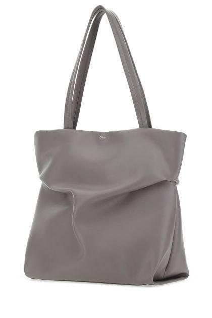 Grey leather Judy shopping bag