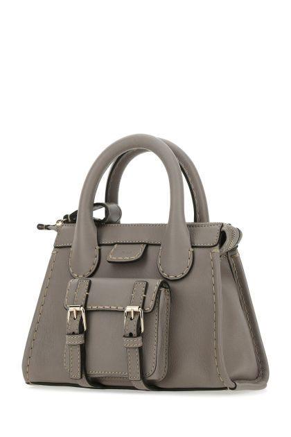 Grey leather mini Edith handbag