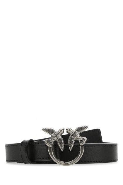 Black leather Love Birds belt
