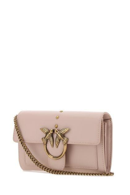 Powder pink leather Love clutch