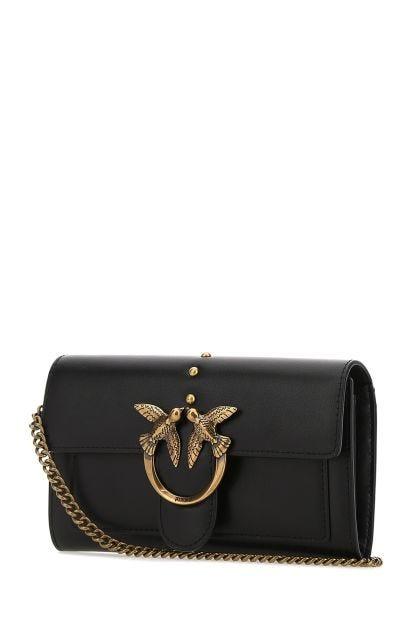 Black leather Love clutch