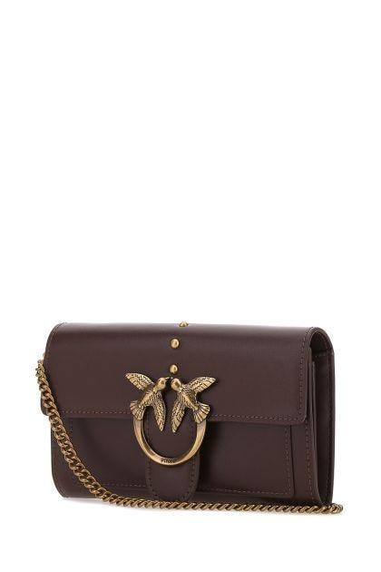 Aubergine leather Love clutch