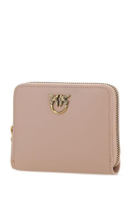 Powder pink leather wallet