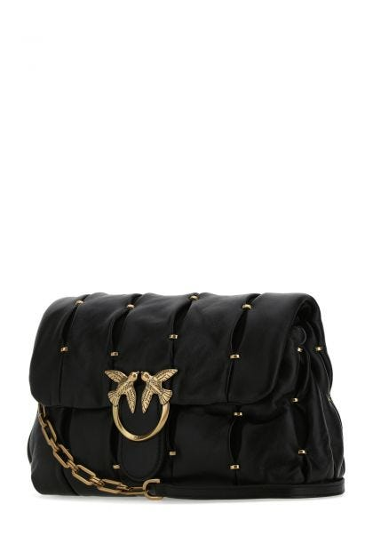 Black nappa leather Classic Love Puff Pinched crossbody bag