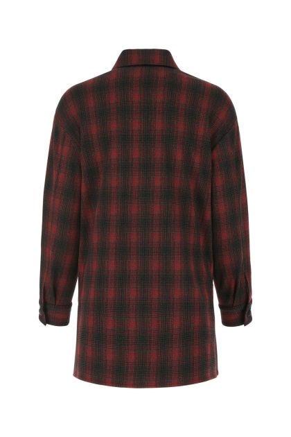 Embroidered stretch viscose blend oversize shirt