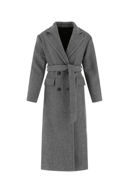 Embroidered wool blend coat