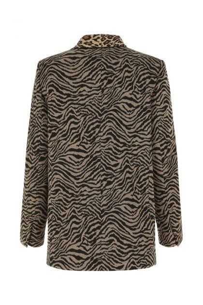 Embroidered stretch viscose blend blazer