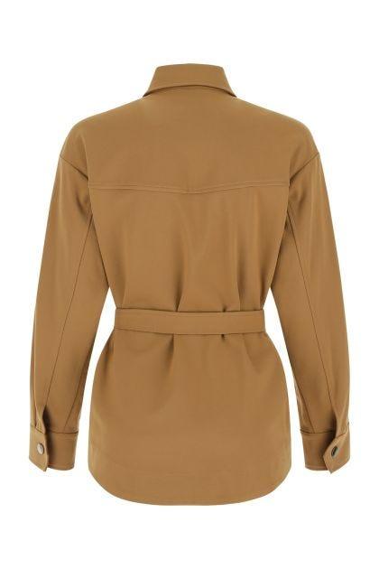 Camel stretch viscose blend shirt