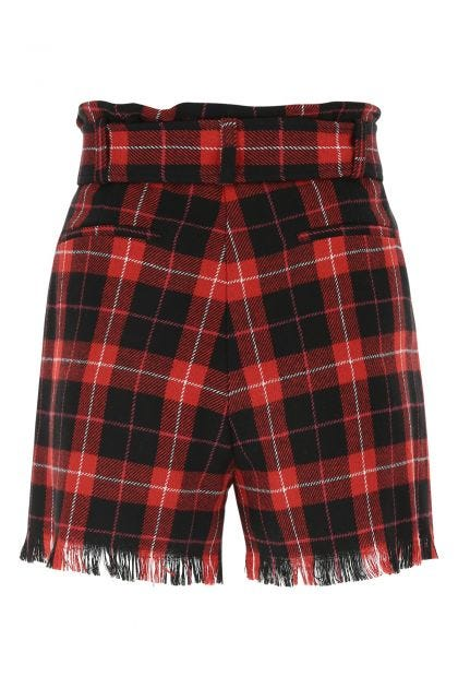 Embroidered flannel shorts