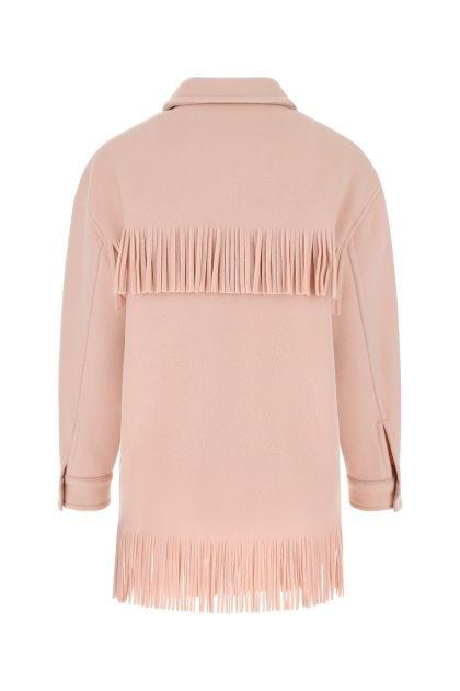 Pastel pink wool blend coat