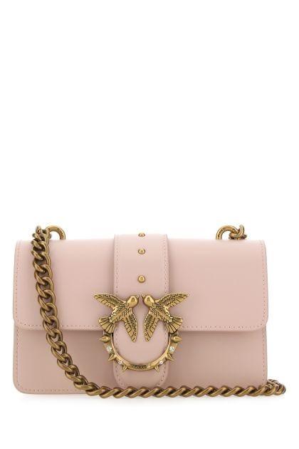 Powder pink leather mini Love Bag Icon crossbody bag