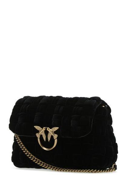 Black fabric Love crossbody bag