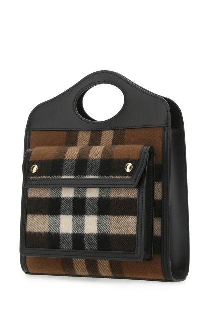 Multicolor flannel and leather mini Pocket handbag