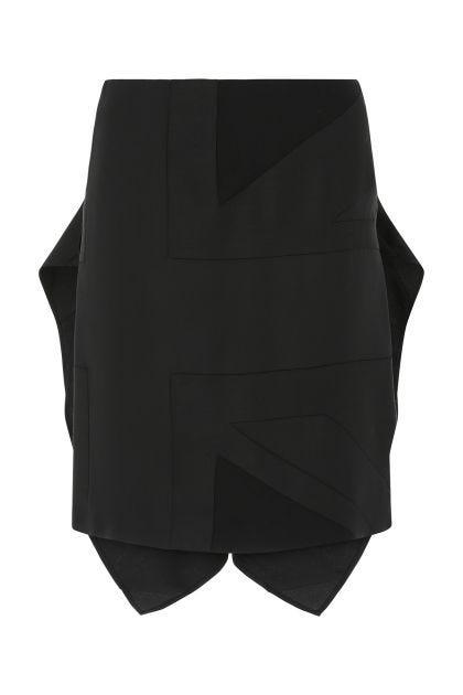 Black polyester mini skirt
