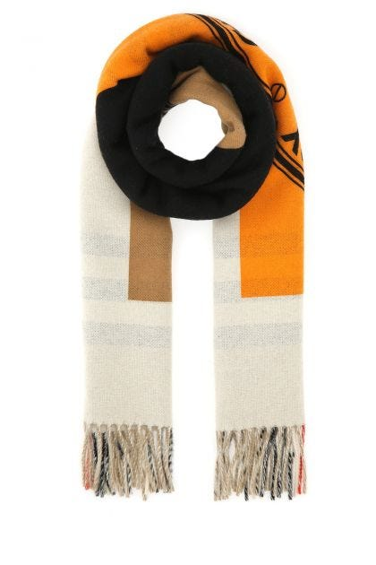 Embroidered cashmere reversible scarf