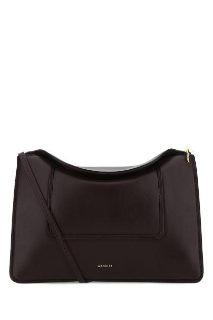 Aubergine nappa leather Penelope shoulder bag