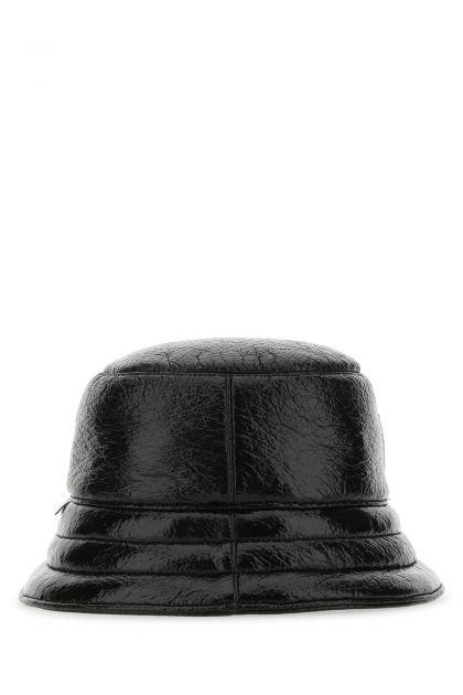 Black wool blend bucket hat