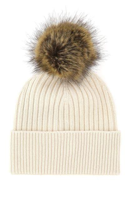 Ivory cashmere blend beanie hat