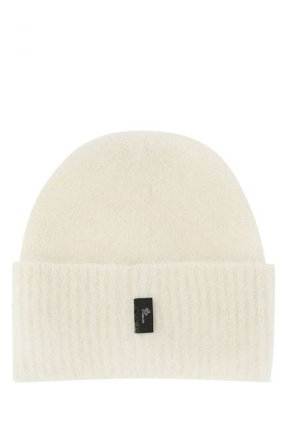 Ivory alpaca blend beanie hat