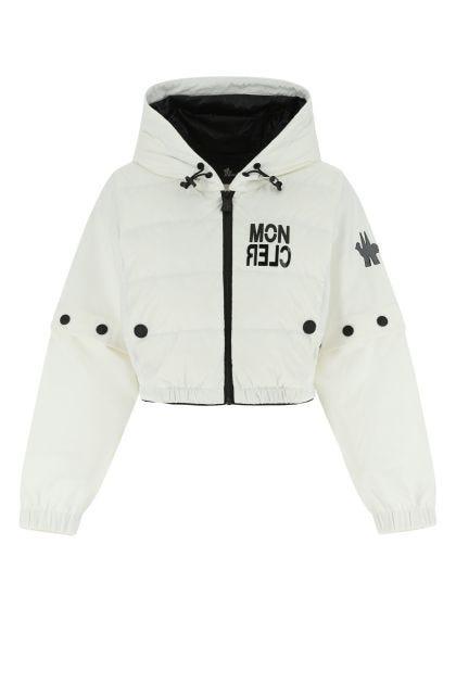 White nylon and stretch viscose blend sweatshirt