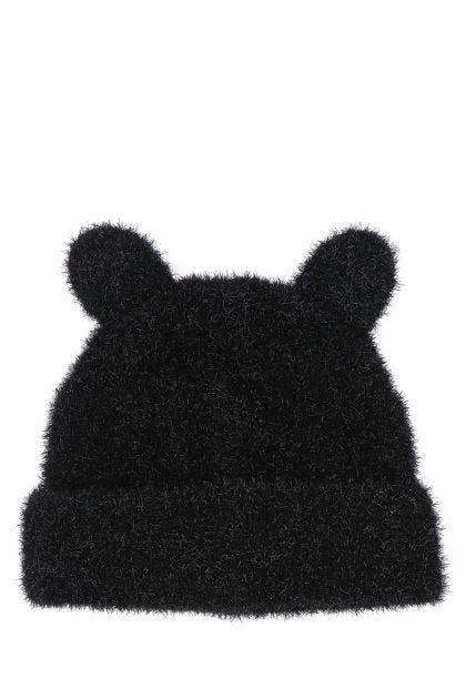 Black nylon blend beanie hat